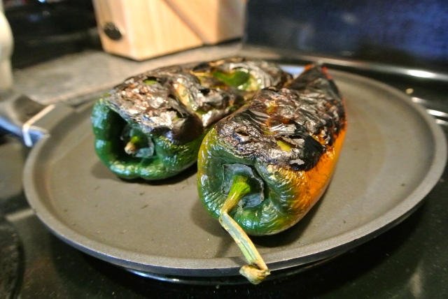 Roasting Poblano Peppers.