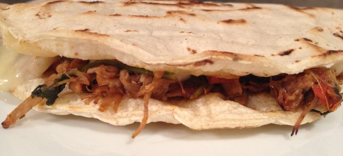 Quesadillas with pulled pork carnitas |