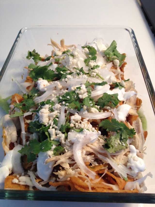 Chilaquiles w chicken and salsa verde.