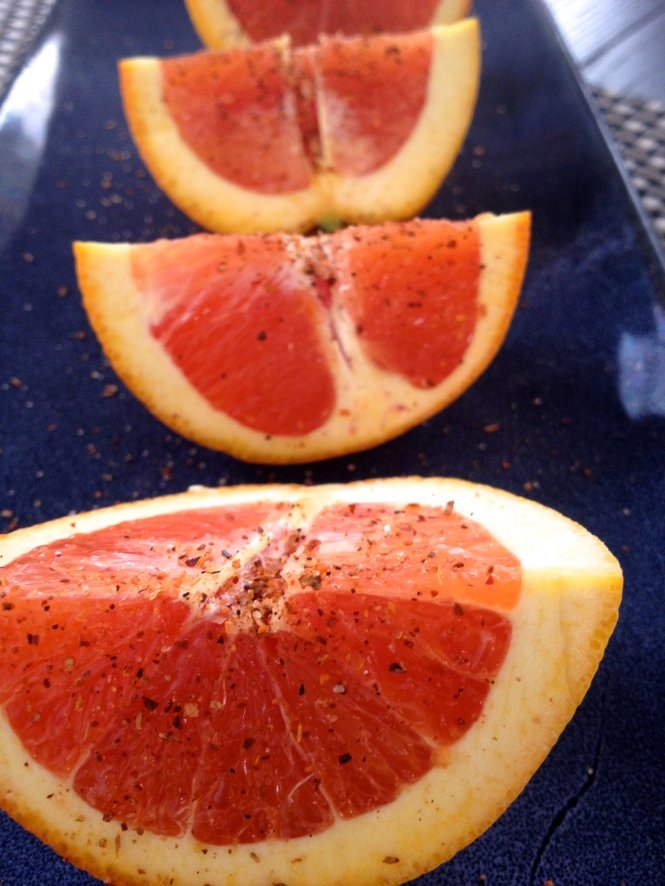 Orange with Tajín. Chile Powder.