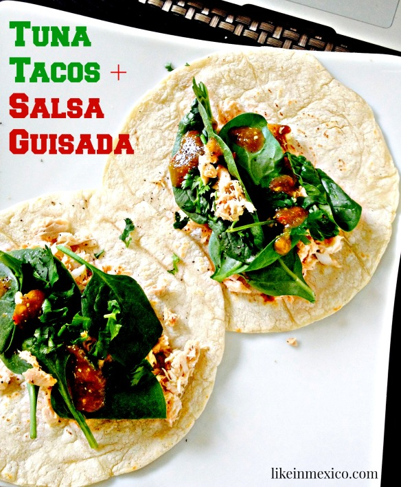 Tuna tacos and salsa guisada